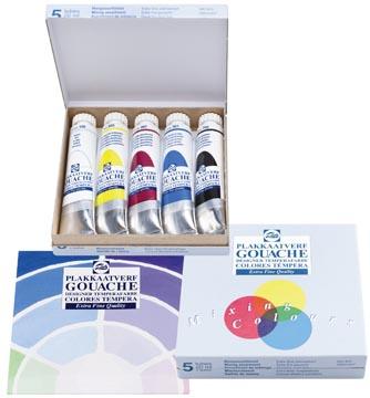Talens gouache Extra Fine, tube de 20 ml, boîte de 5 tubes en couleurs assorties