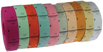 Rouleaux de tickets, couleurs assorties