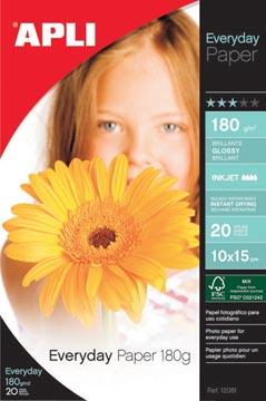 Apli papier photo Everyday ft 10 x 15 cm, 180 g, paquet de 20 feuilles