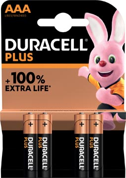Duracell piles Plus 100%, AAA, blister 4 pièces