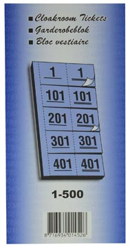 Carnets pour vestiaire numéros de 1 à 500, jaune