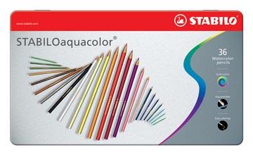 STABILOaquacolor crayon de couleur, boîte métallique de 36 pièces en couleurs assorties