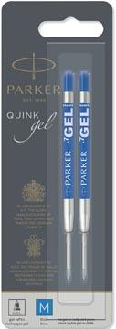 Parker Quink Gel recharge pour stylo bille, pointe moyenne, bleu, blister de 2 pièces