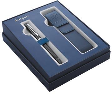 Waterman boîte cadeau stylo plume Expert black avec détail en palladium + etui bleu