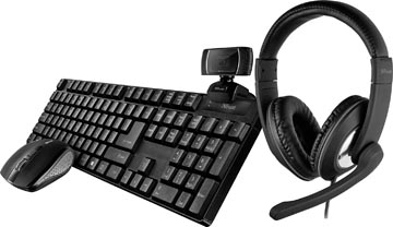 Trust Qoby 4-in-1 Home Office Set avec webcam, micro-casque, clavier (qwerty) et souris