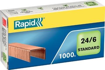 Rapid Agrafes 24/6, cuivrées, boîte de 1.000 agrafes