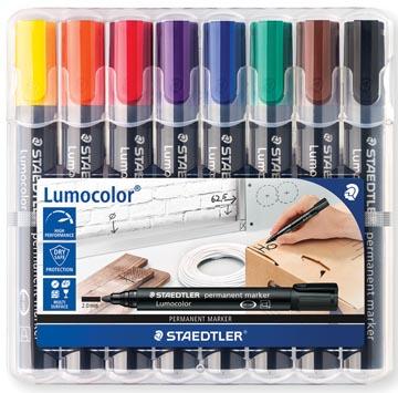 Staedtler marqueur permanent Lumocolor 352, boîte de 8 pièces en couleurs assorties