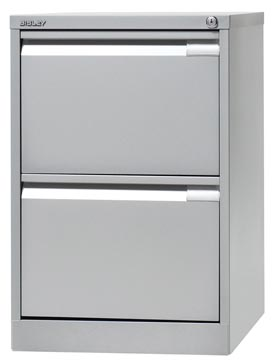 Bisley classeur dossiers, ft 71,1 x 47 x 62,2 cm (h x l x p), 2 tiroirs, argenté