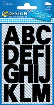Avery étiquettes lettres A-Z large, 2 feuilles, noir, film résistant aux intempéries