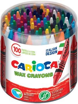 Carioca craie à la cire Wax, pot de 100 pièces en couleurs assorties