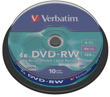 Verbatim DVD réinscriptible DVD-RW, spindle de 10 pièces