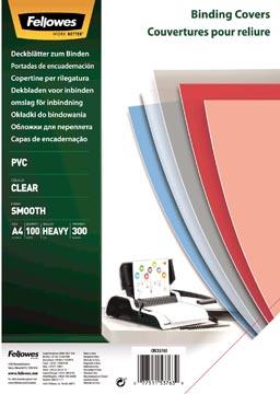 Fellowes couvertures ft A4, 300 microns, paquet de 100 pièces