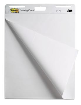 Post-it meeting chart, ft 63,5 x 77,5 cm, blanco, 30 feuilles, pacquet de 2 blocs