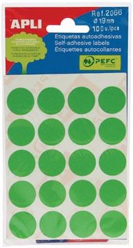 Apli étiquettes rondes en pochette diamètre 19 mm, vert, 100 pièces, 20 par feuille (2066)