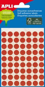 Apli étiquettes rondes en pochette diamètre 8 mm, rouge, 288 pièces, 96 par feuille (2046)