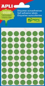 Apli étiquettes rondes en pochette diamètre 8 mm, vert, 288 pièces, 96 par feuille (2047)