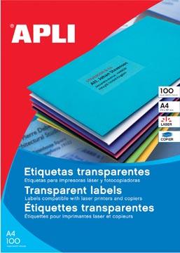 Apli étiquettes transparentes ft 210 x 297 mm (l x h), 20 pièces, 1 par feuille, boîte de 20 feuilles