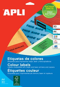Apli étiquettes colorées ft 70 x 37 mm (l x h), rouge, 480 pièces, 24 par feuille (1593)