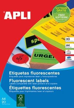 Apli étiquettes fluorescentes 99,1 x 67,7 mm (l x h) jaune