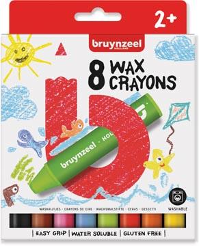 Bruynzeel craie à la cire, set de 8 pièces en couleurs assorties