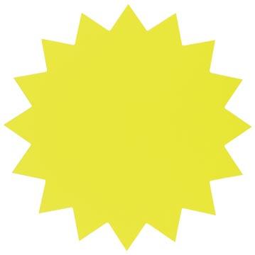 Folia étiquettes en carton fluo 18 cm jaune fluo (étoiles)
