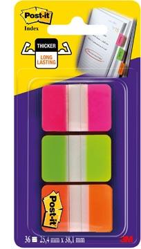 Post-it Index Strong, ft 25,4 x 38 mm, set de 3 couleurs (rose, vert en orange), 12 tabs par couleur