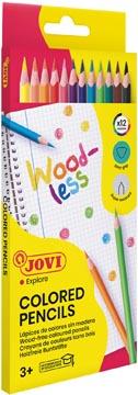 Jovi crayon de couleur Woodless, étui cartonné de 12 pièces
