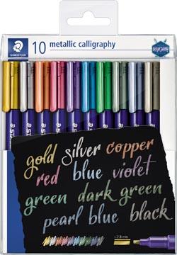 Staedtler feutre calligraphie Metallic 8325, etui de 10 pièces en couleurs assorties