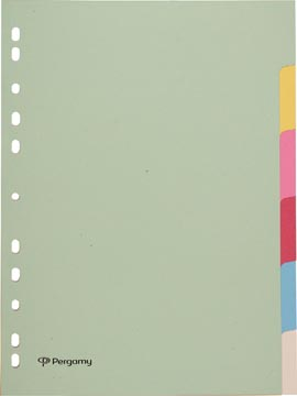 Pergamy intercalaires, ft A4, perforation 11 trous, carton, couleurs assorties pastel, 6 onglets