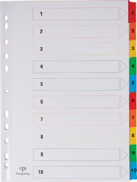 Pergamy intercalaires avec page de garde, ft A4, perforation 11 trous, couleurs assorties, set 1-10