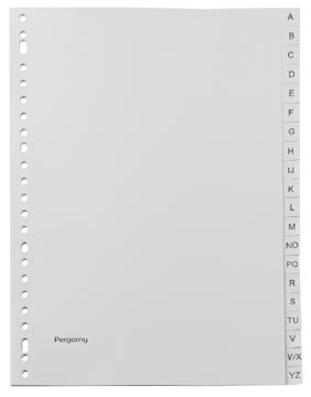 Pergamy intercalaires, ft A4, perforation 23 trous, PP gris, A-Z