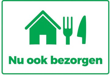 Autocollant, texte: Nu ook bezorgen, ft A4 (seulement en néerlandais)