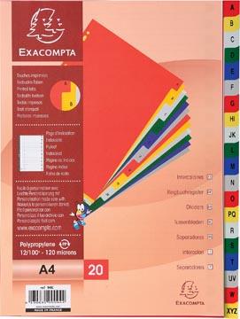 Exacompta intercalaires pour ft A4, en PP, de A à Z, 20 onglets, index, couleurs assorties