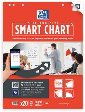 Oxford Smart Chart bloc de conférence auto-collant, ft 60 x 80 cm, paquet de 20 feuilles, blanco