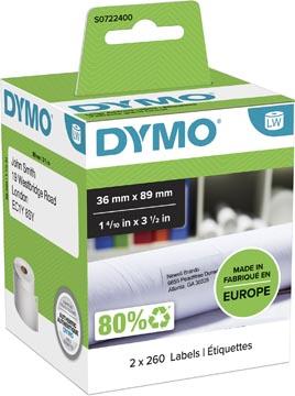 Dymo étiquettes LabelWriter, ft 89 x 36 mm, blanc, 2 x 260 étiquettes