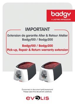 Badgy extension de garantie pour imprimantes Badgy, 1 an