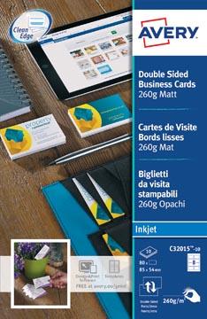 AVERY cartes de visite Quick&Clean mat, 80 cartes, 260 g/m²