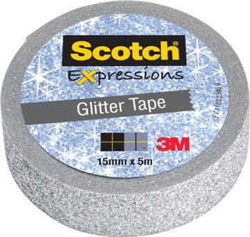 Scotch Expressions ruban pailleté, 15 mm x 5 m, argent