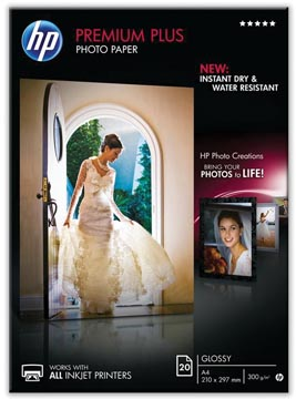 HP Premium Plus papier photo ft A4, 300 g, paquet de 20 feuilles, brillant