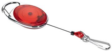 Durable enrouleur avec mousqueton rouge, sous blister