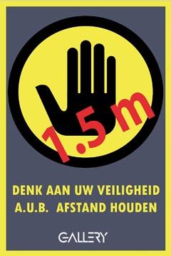 Gallery autocollant, avertissement: gardez 1,5 mètres de distance, ft A5, néerlandais