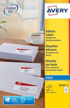 Avery J8160-40 étiquettes adresse ft 63,5 x 38,1 mm (b x h), 840 étiquettes, blanc