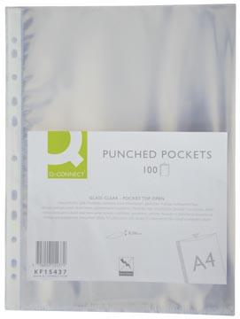 Q-Connect pochette perforée, perforation 11 trous, lisse, 60 microns, paquet de 100 pièces