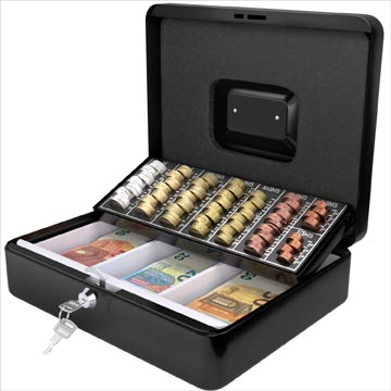 Acropaq coffret à monnaie avec trieur de pièces, ft 30 x 24 x 9 cm, noir