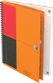 Oxford INTERNATIONAL cahier spiralé connect, couverture en carton orange, ft B5, ligné, 160 pages